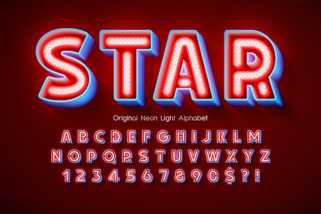 Alfabet 3d światła neonowego, wyjątkowo świecący nowoczesny typ.