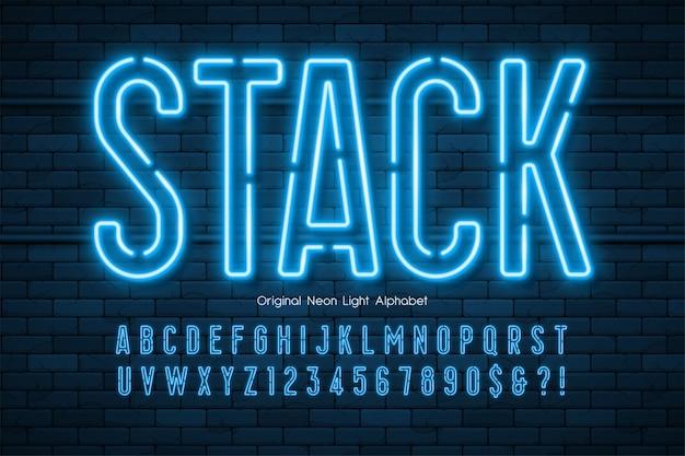 Alfabet 3d światła Neonowego, Wyjątkowo świecący Nowoczesny Typ. Premium Wektorów