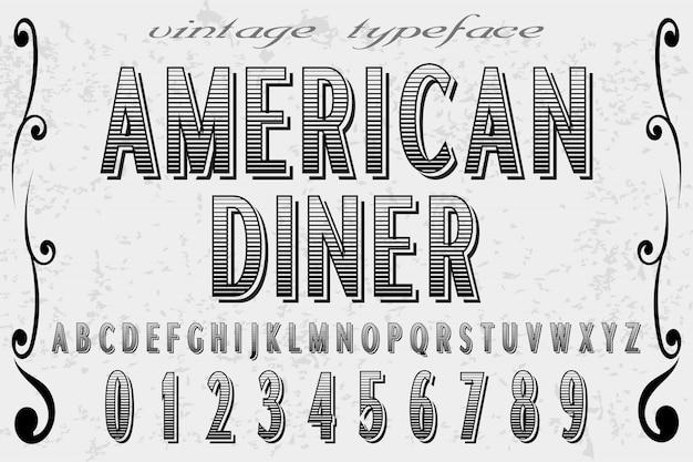 Alfabet amerykański projekt diner i etykiety