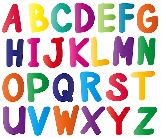 Alfabet angielski w wielu kolorach