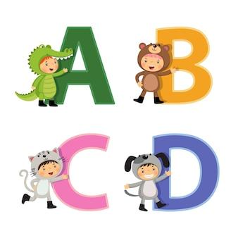 Alfabet angielski z dziećmi w strojach zwierząt, litery od a do d.