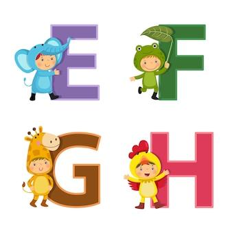 Alfabet angielski z dziećmi w strojach zwierząt, litery od e do h.