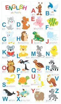 Alfabet angielski z zabawnymi zwierzętami w stylu kreskówki