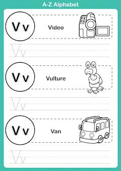 Alfabet az ćwiczenia ze słownictwa kreskówka dla kolorowanka