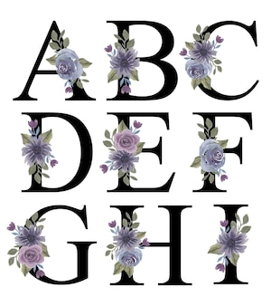 Alfabet az początkowy projekt z akwarelowym fioletowym kwiatowym ornamentem do dekoracji zaproszenia