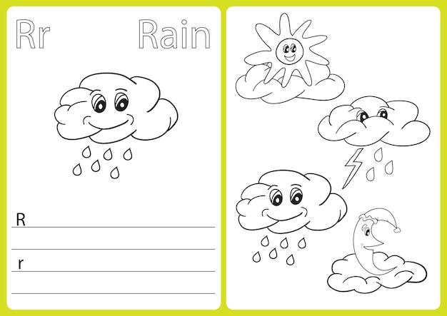 Alfabet az - puzzle, ćwiczenia dla dzieci - kolorowanka - ilustracja i kontur wektorowy