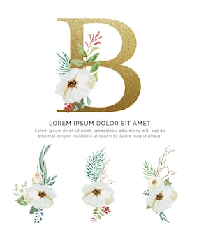 Alfabet b bukiet kwiatów i liści kolekcja akwarela.