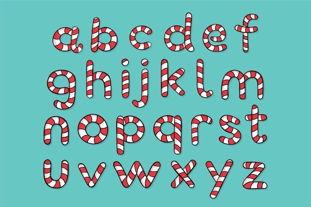 Alfabet bożego narodzenia z trzciny cukrowej