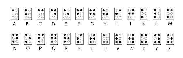 Alfabet braille'a. abc dla wzroku wyłącza osoby niewidome. litera braille'a jako kropka. ilustracja wektorowa w czerni i bieli.