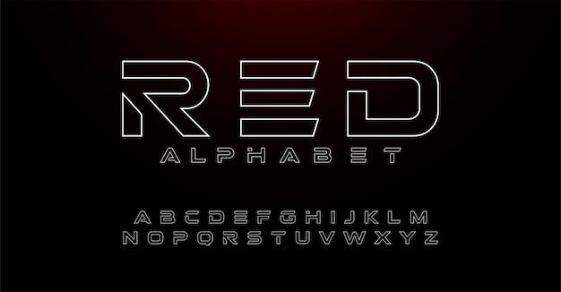 Alfabet cienka linia nowoczesnych czcionek typografii