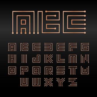 Alfabet cyfrowy wektor na białym tle streszczenie technologia czcionki microchip abc logo zestaw elektroniczny