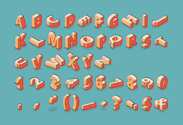 Alfabet, cyfry i znaki interpunkcyjne stojąc i leżąc na surowo na niebieskim tle retro kolorowe.