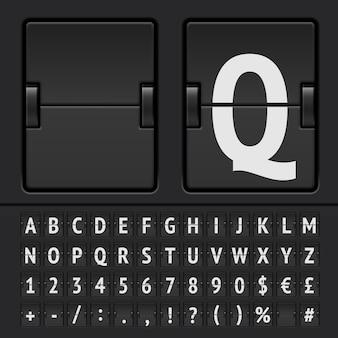 Alfabet czarna tablica wyników klapki