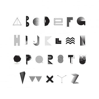 Alfabet czarno-biały. nowoczesny krój pisma wykonany z różnych abstrakcyjnych kształtów i faktur. zestaw czcionek