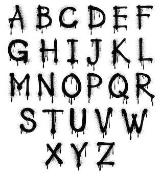 Alfabet czarny graffiti