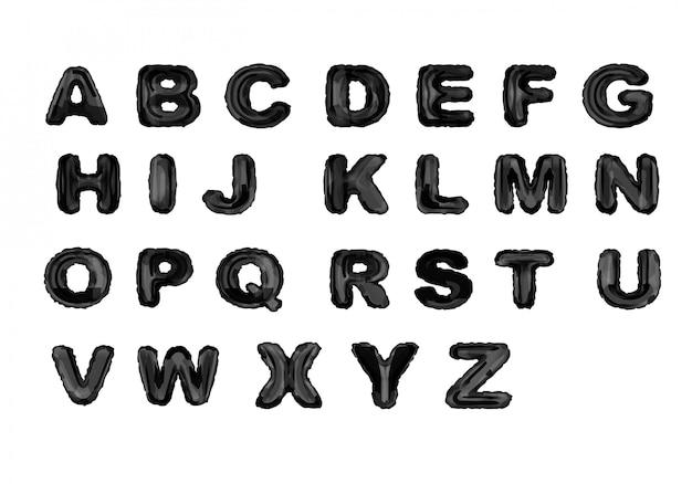 Alfabet czarnym tuszem