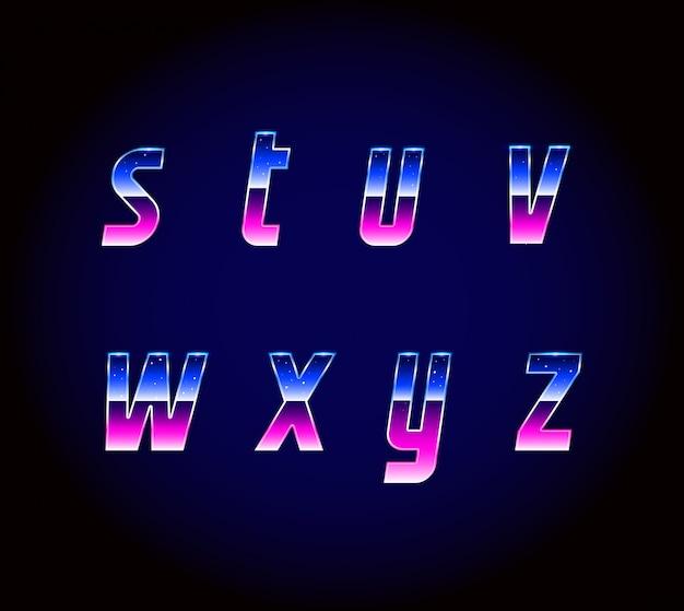 Alfabet czcionek science-fiction z lat 80. xx wieku