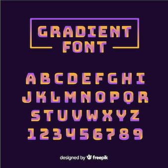 Alfabet czcionek w stylu gradientowym