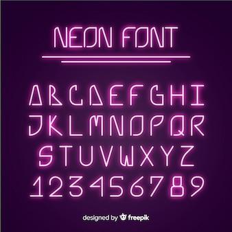 Alfabet czcionek w stylu neonowym