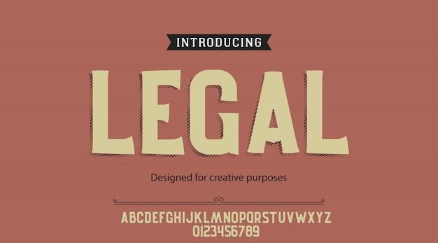 Alfabet czcionek z czcionkami prawnymi