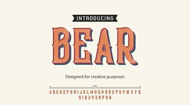 Alfabet czcionki czcionek bear