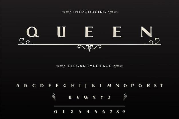 Alfabet czcionki elegancki, luksusowy typ twarzy