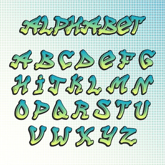 Alfabet czcionki graffity grunge