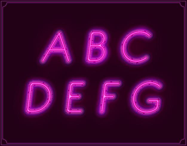 Alfabet czcionki neonowej kursywy. świecące w wektorze.