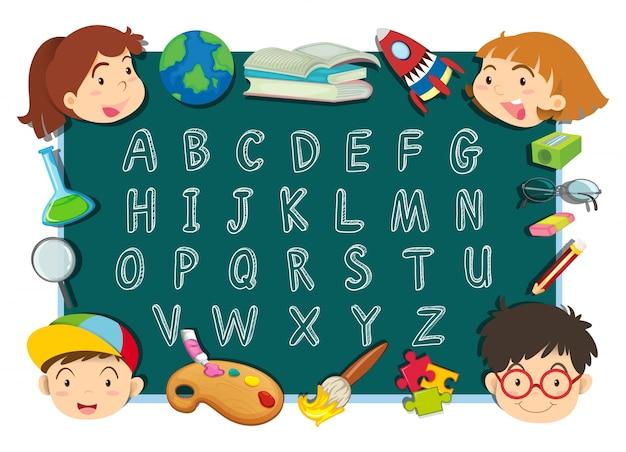 Alfabet czcionki projektowania z dziećmi i materiały piśmiennicze