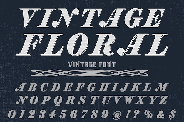 Alfabet czcionki skrypt krój pisma odręcznego rocznika kwiatowy