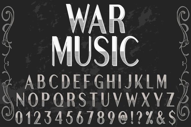 Alfabet czcionki skrypt krój pisma odręczny projekt etykiety nazwany muzyką wojenną