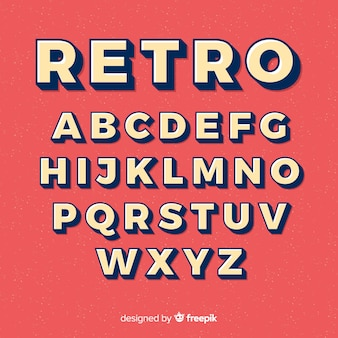 Alfabet czcionki w stylu retro