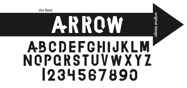 Alfabet czcionki z czarną strzałką. krój płaski logo nowoczesnej typografii.