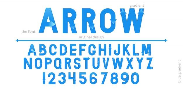 Alfabet czcionki z niebieską strzałką gradientu. krój płaski logo nowoczesnej typografii.