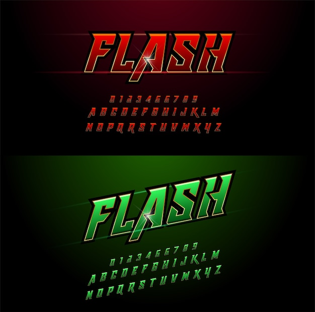Alfabet czerwone i zielone wzory metaliczne i efekt