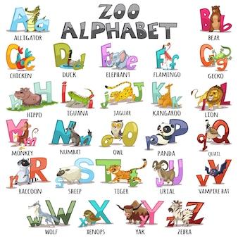 Alfabet dla dzieci. abc zwierzęta litery ilustracja kreskówka.
