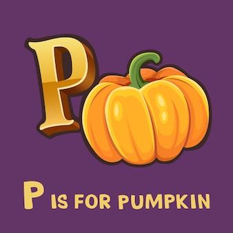 Alfabet dla dzieci litera p i dyni