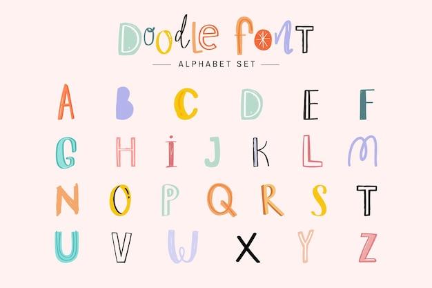 Alfabet doodle czcionki typografii odręczny zestaw