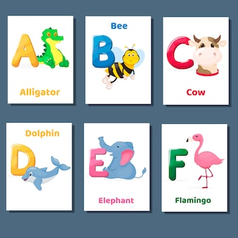 Alfabet druku flashcards wektor zbiory z literą abcde f. zoo zwierzęta do nauki języka angielskiego.