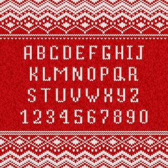 Alfabet dziewiarski czerwony i biały
