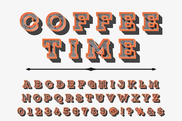 Alfabet efekt cienia projekt etykiety czas kawy