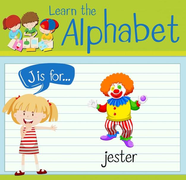 Alfabet flashcard j jest dla błazna