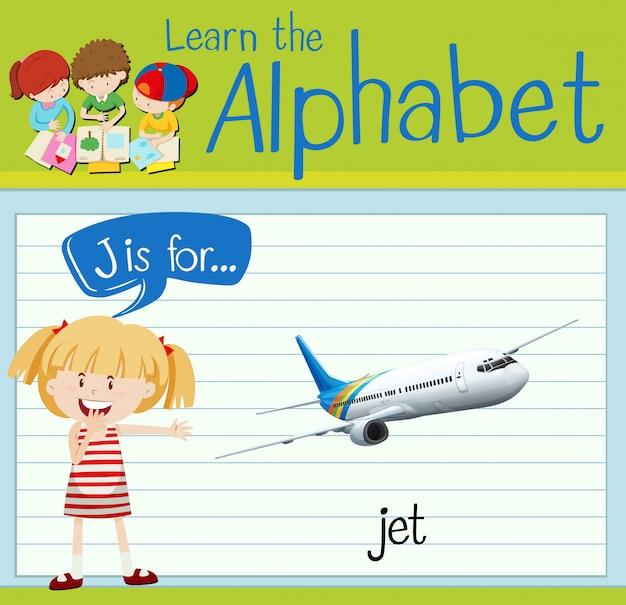 Alfabet flashcard j jest dla odrzutowca
