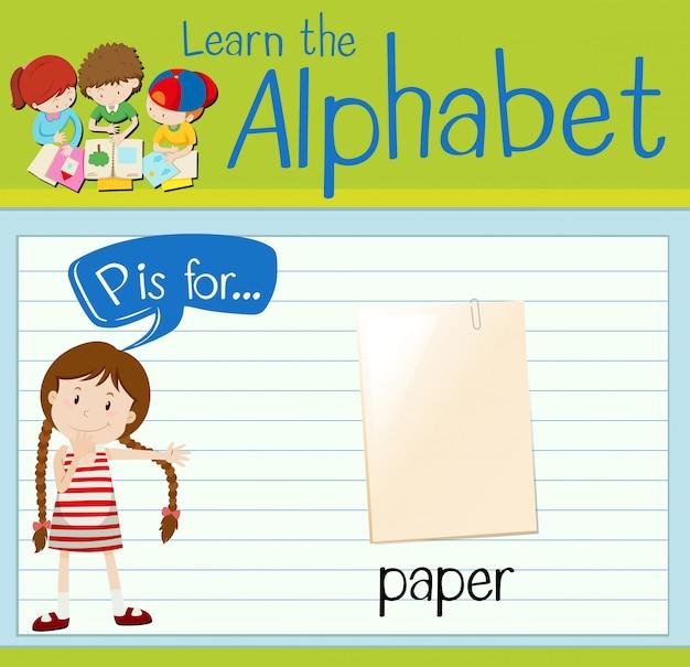 Alfabet flashcard p oznacza papier