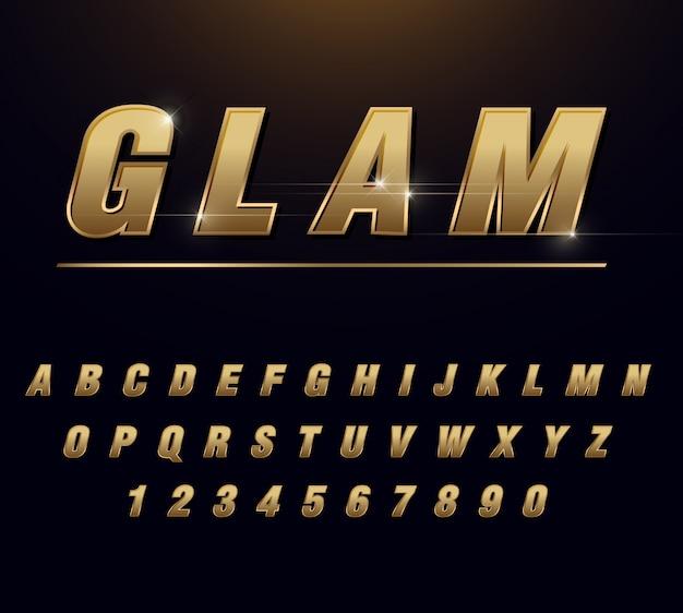 Alfabet glam ze złotym gradientem