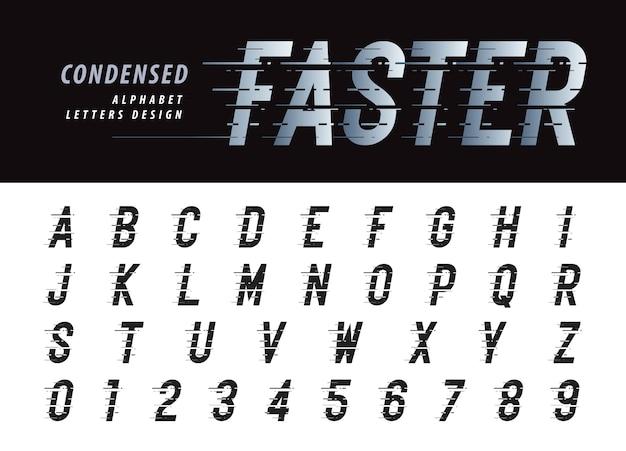 Alfabet i cyfry w stylu glitch