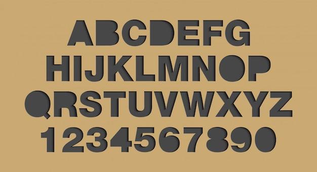Alfabet i cyfry w stylu sztuki papieru