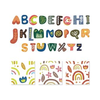 Alfabet i wzór zestaw na białym tle