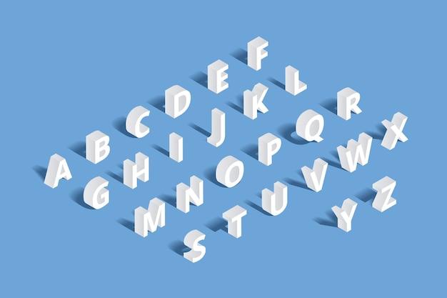 Alfabet izometryczny 3d. list projektowy, zestaw abc typografii, znak geometrycznej literówki