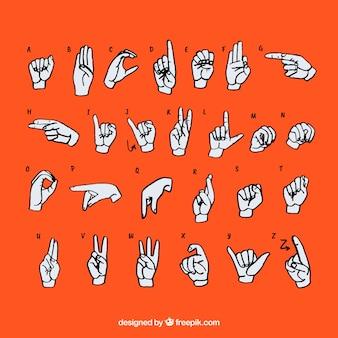 Alfabet języka migowego w stylu wyciągnąć rękę